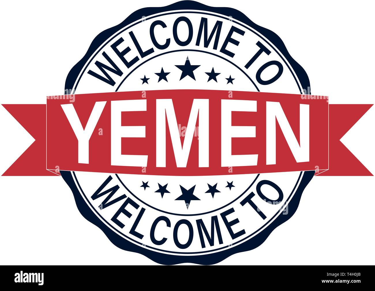 welcome to yemen round web rubber stamp isolated - Stock Vector