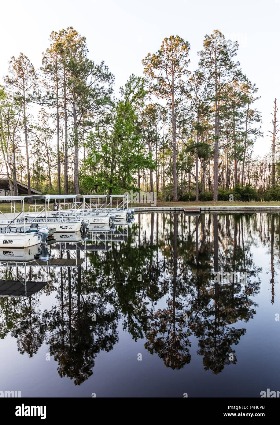 Okefenokee Swamp, Folkston, GA, USA-3/29/19: The canal at eastern entrance to the swamp, with skiffs at dock. Stock Photo
