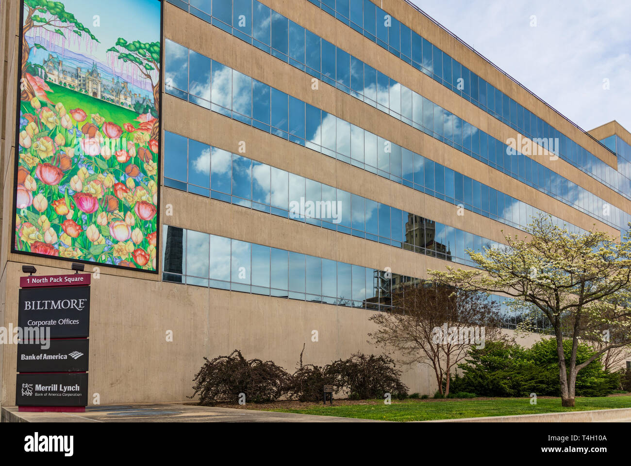 ASHEVILLE, NC, USA-4/11/19: The Biltmore Corporate office building, in early spring, with a mural of Biltmore House. Stock Photo
