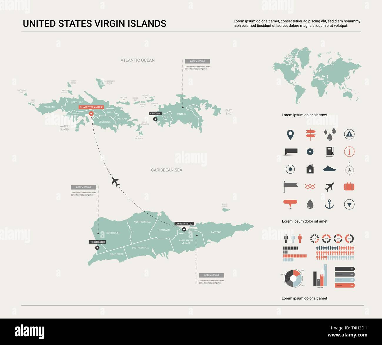 Vector map of United States Virgin Islands. High detailed ...