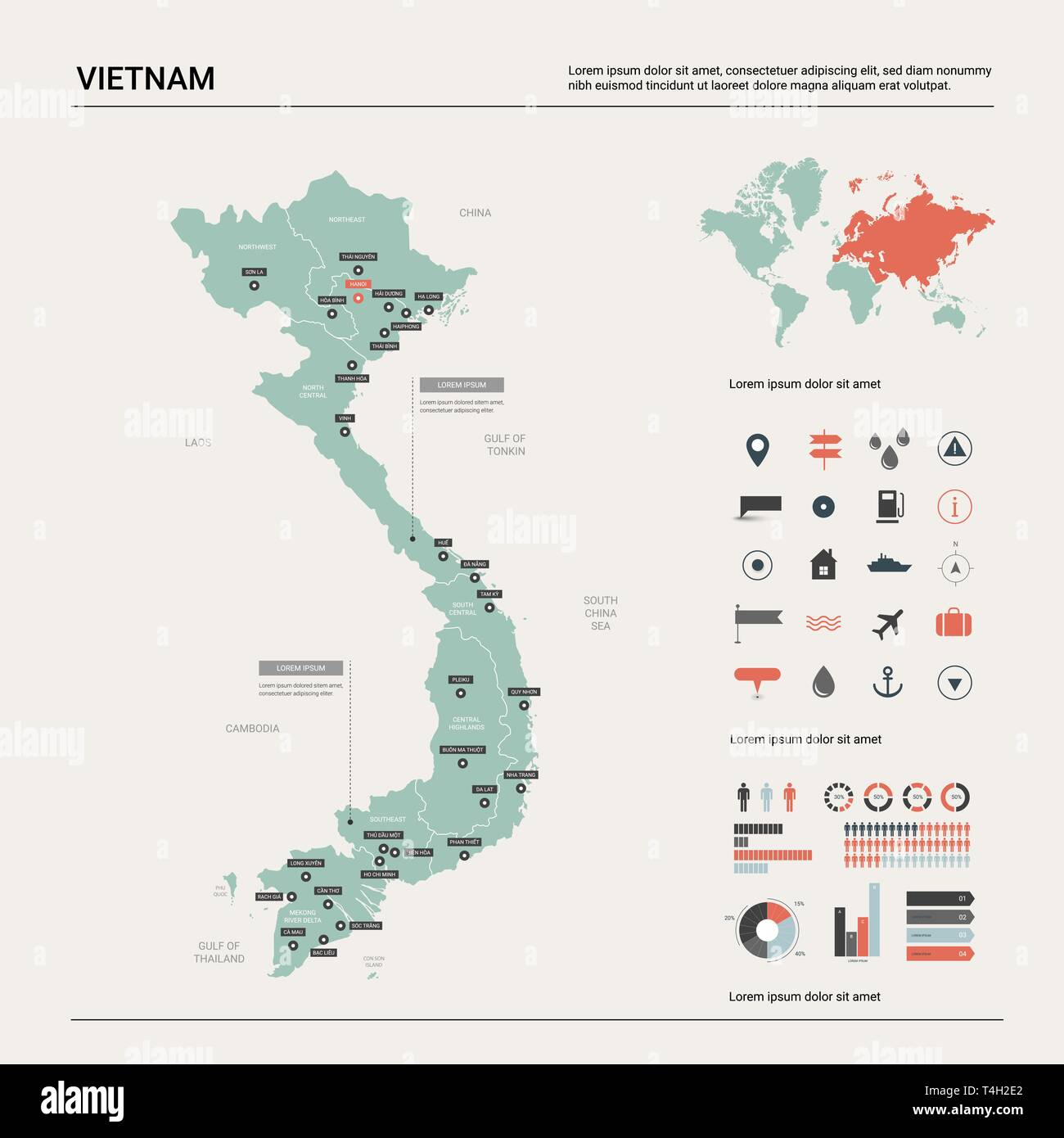 Vector Map Of Vietnam High Detailed Country Map With Division Cities And Capital Hanoi Political Map World Map Infographic Elements Stock Vector Image Art Alamy