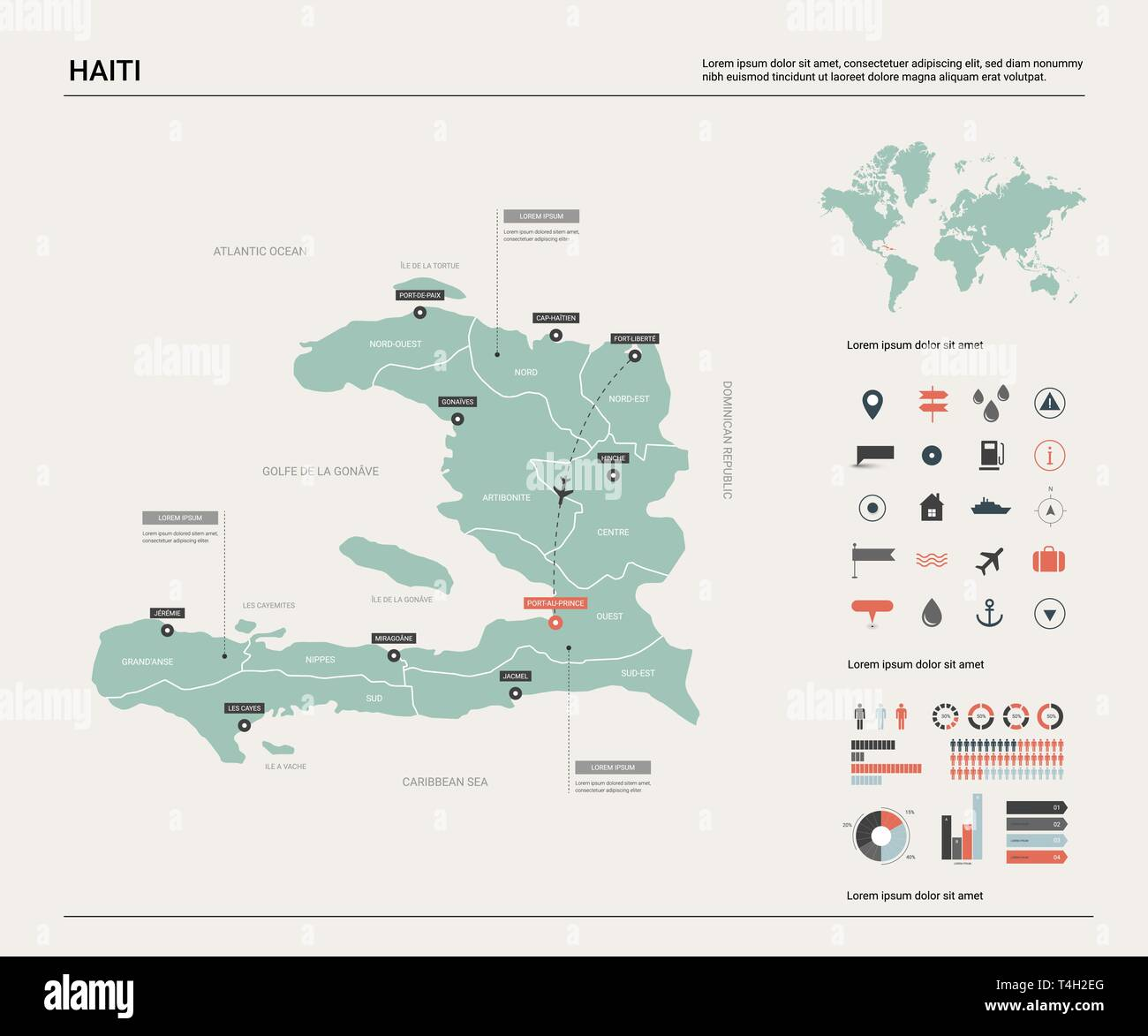 Vector map of Haiti. High detailed country map with division, cities ...