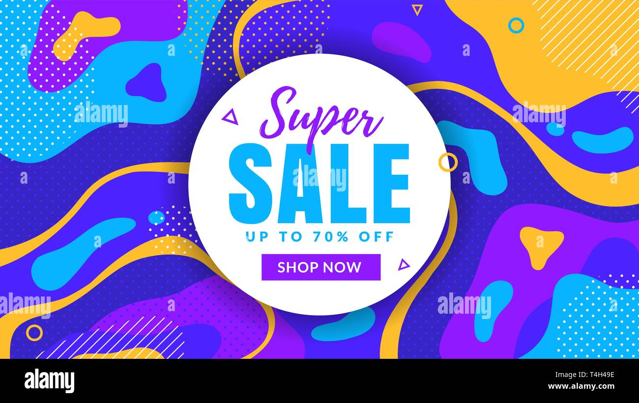 9fc9f6ebe Sale banner with abstract colorful background. Vector template for web  advertising discount in trendy style