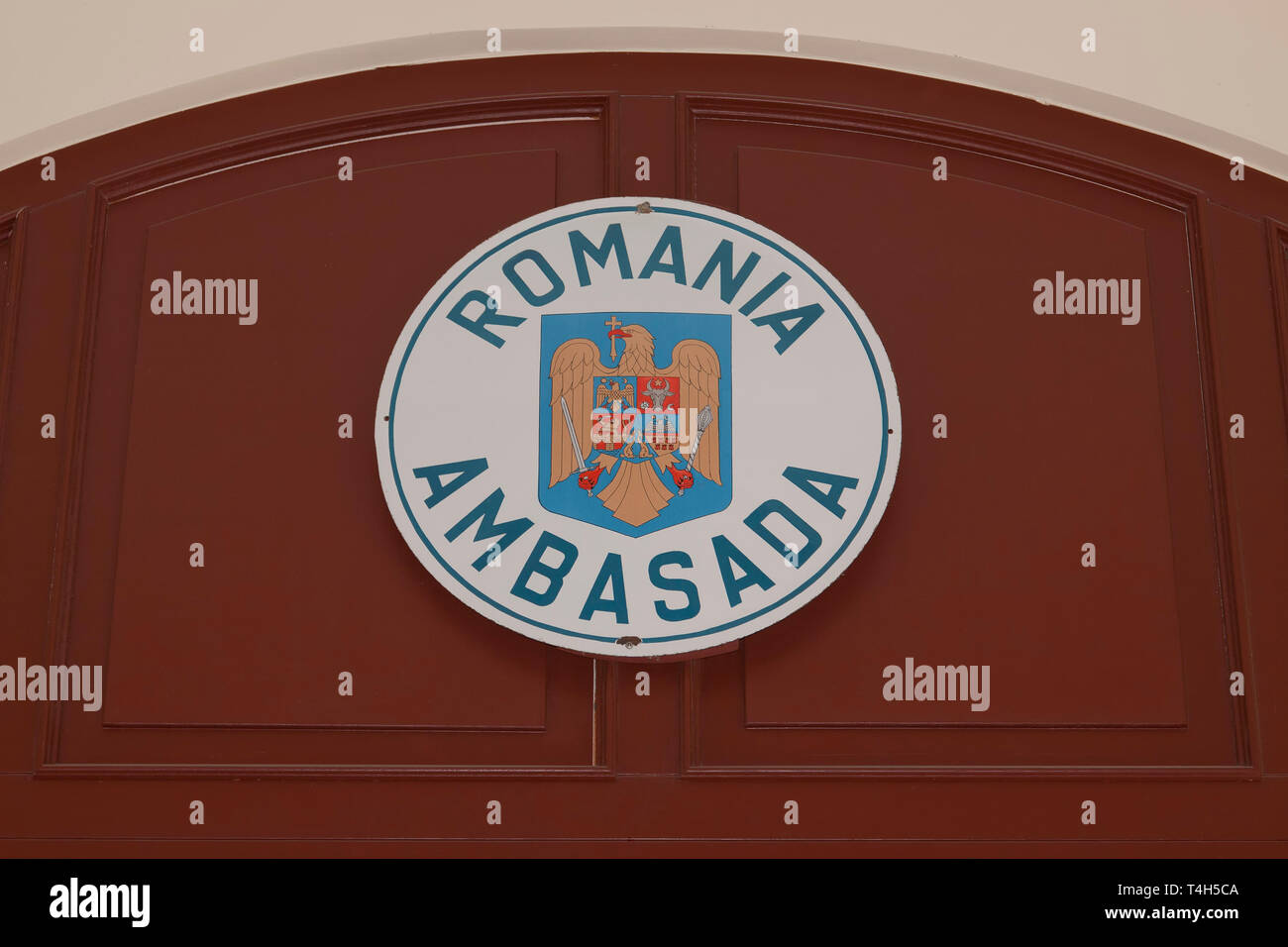 Coat of arms at the entrance of the embassy Romania, Berlin - Stock Image