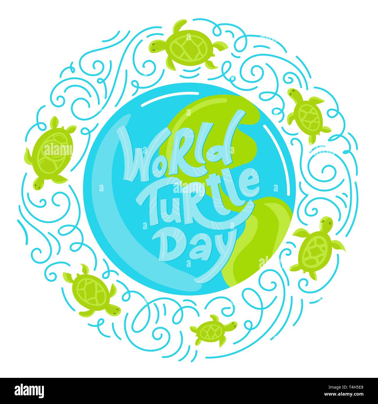 World Turtle Day 23 May background. Lettering with hand drawn elements. Modern doodle style. Vector illustration. - Stock Vector