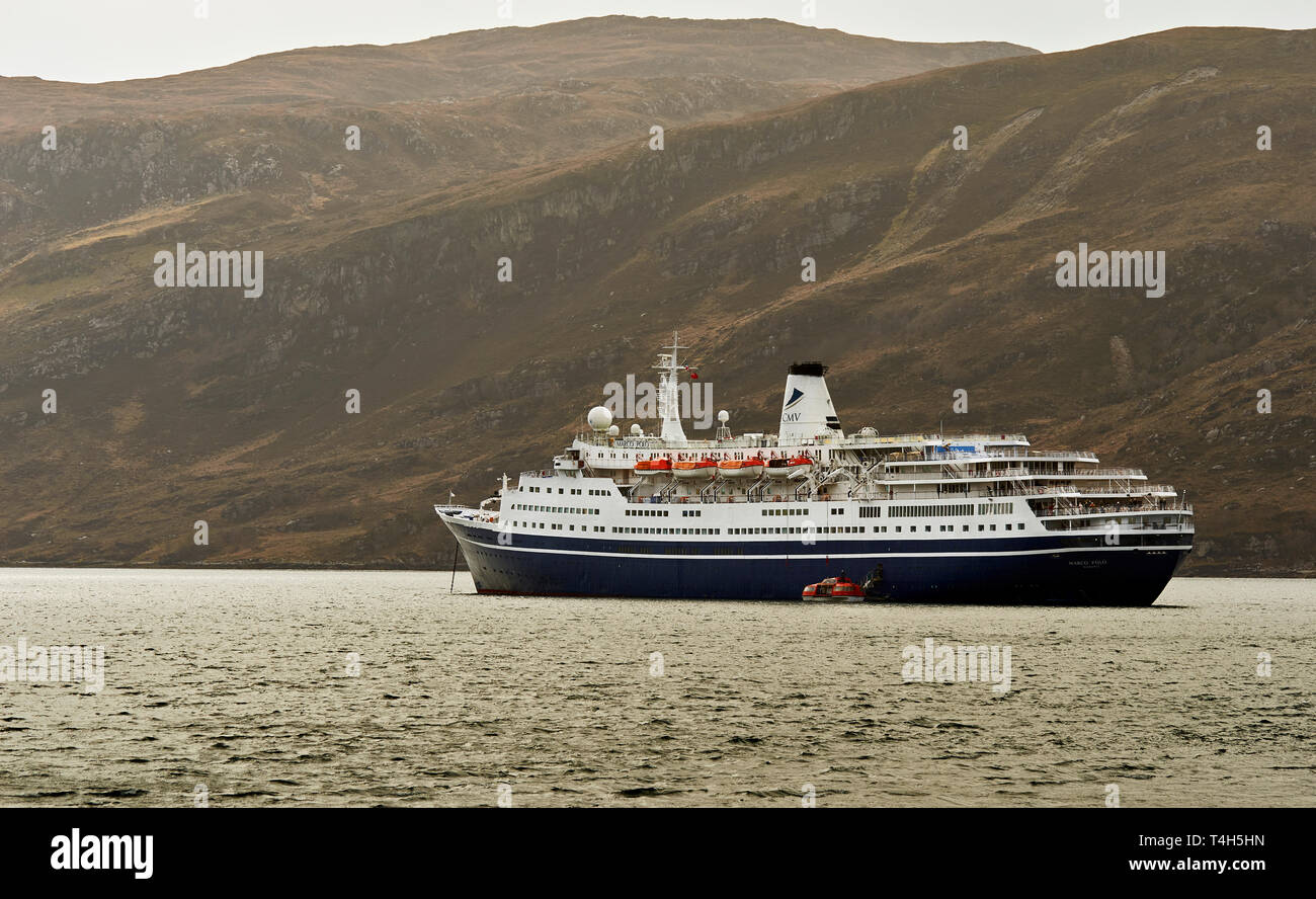 CMV MARCO POLO CRUISE LINER ANCHORED IN LOCH BROOM OFF ULLAPOOL SCOTLAND - Stock Image