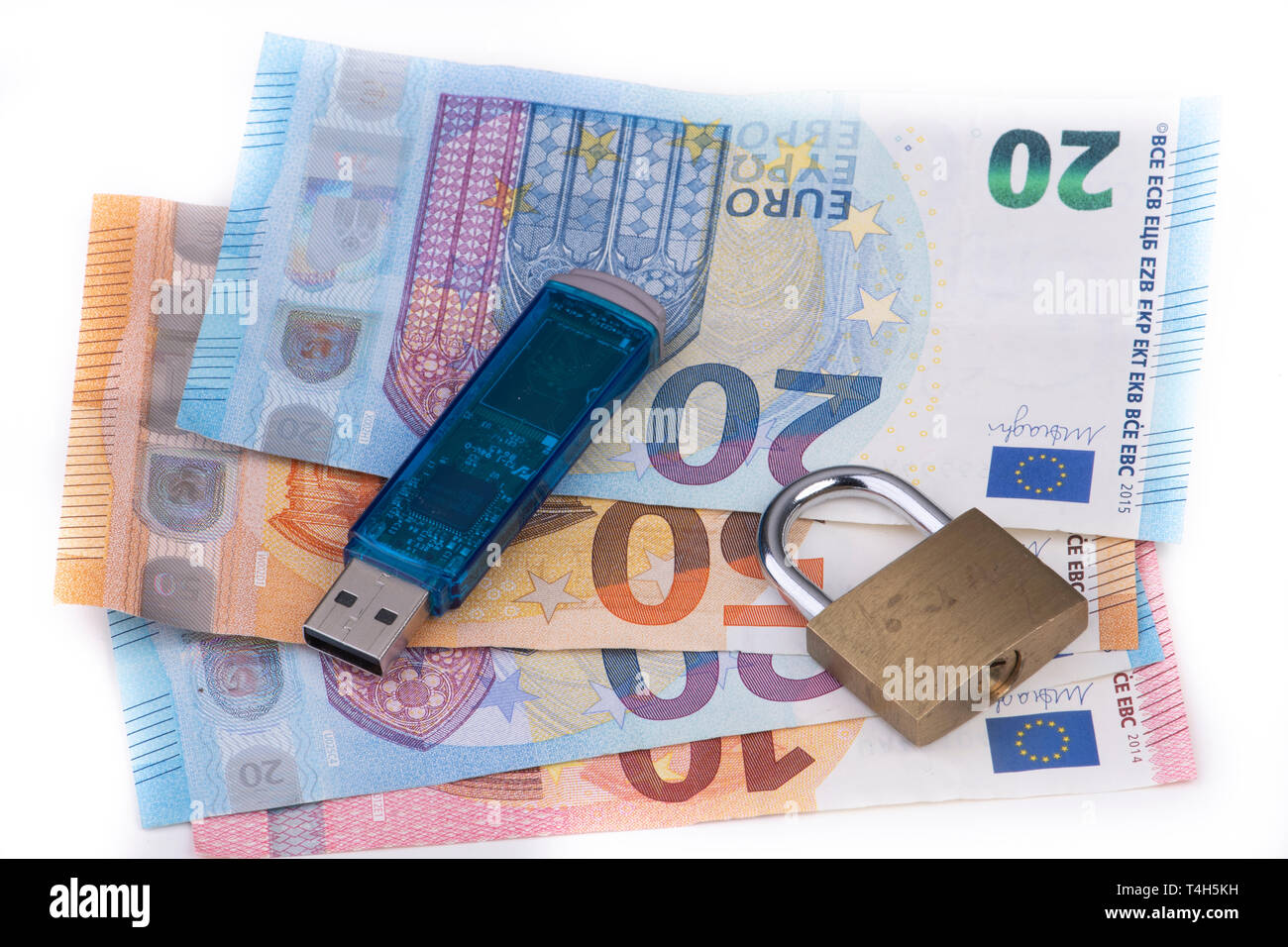 Data Collection and Sale of Data - Data Stick with Padlock and Euro Banknotes - Stock Image