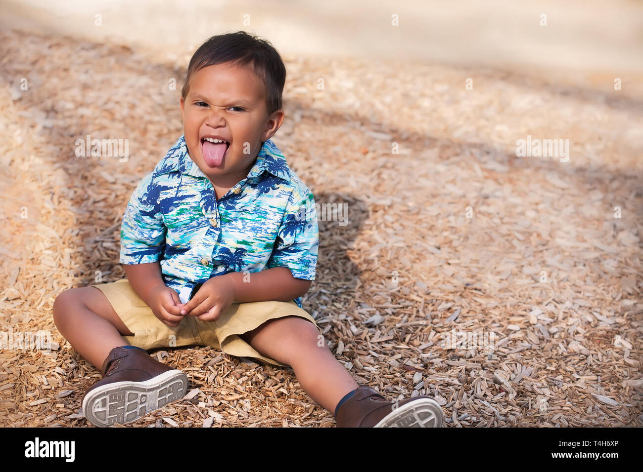 A playful or mischievous 2 year old boy sticking his tongue out making a facial gesture. - Stock Image