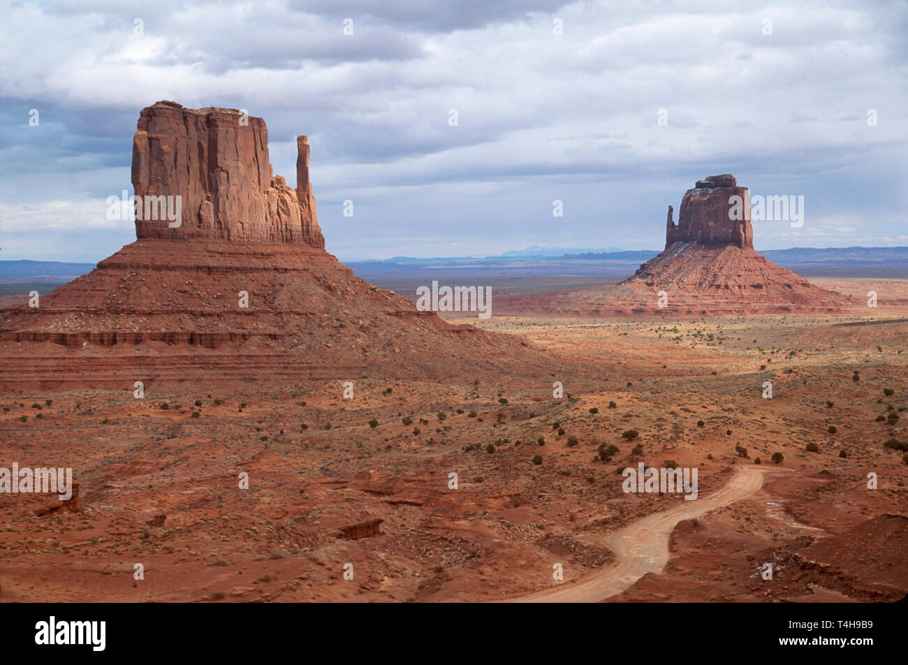 Arizona Navaho Indian Monument Valley Navajo Tribal Park East & West Mitten Buttes - Stock Image