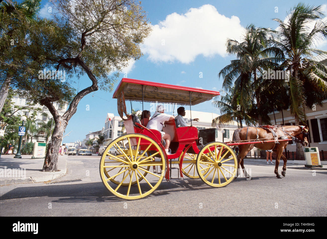 Bahamas New Providence Nassau Bay Street horse drawn tour carriage - Stock Image