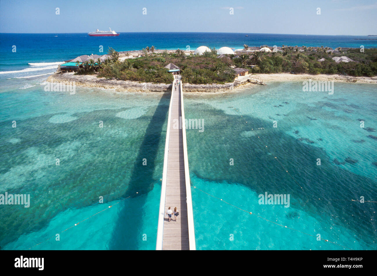 Bahamas New Providence Nassau Coral World walkway leads to underwater observation area - Stock Image