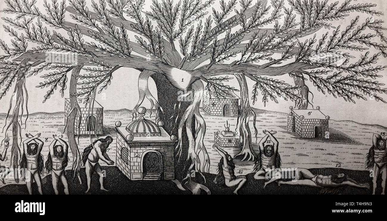 Indians performing yoga asana under a Banyan tree. That image is from Jean-Baptiste Tavernier's Collections of Travels Through Turky into Persia and the East-Indies (1688) - Stock Image