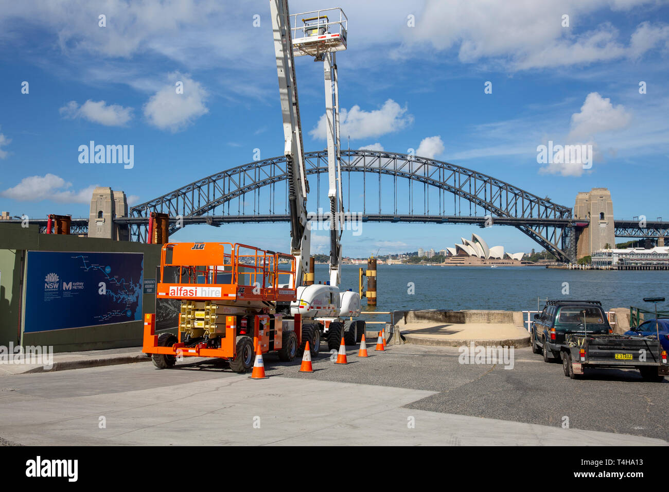 Sydney metro project site at Blues Point in Sydney which will be used as a retrieval site for the tunnel boring machines, Sydney,Australia - Stock Image