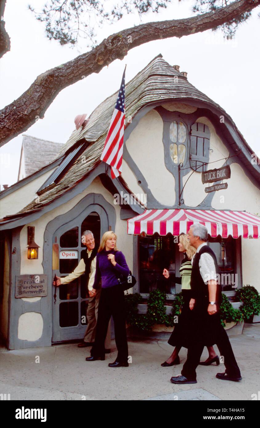 California Monterey County Carmel Tuck Box English Tearoom Tudor architecture visitors - Stock Image