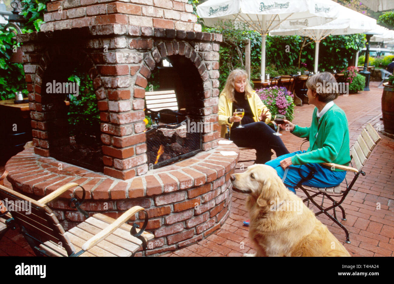 California Monterey County Carmel Forge In The Forest Restaurant pets permitted - Stock Image