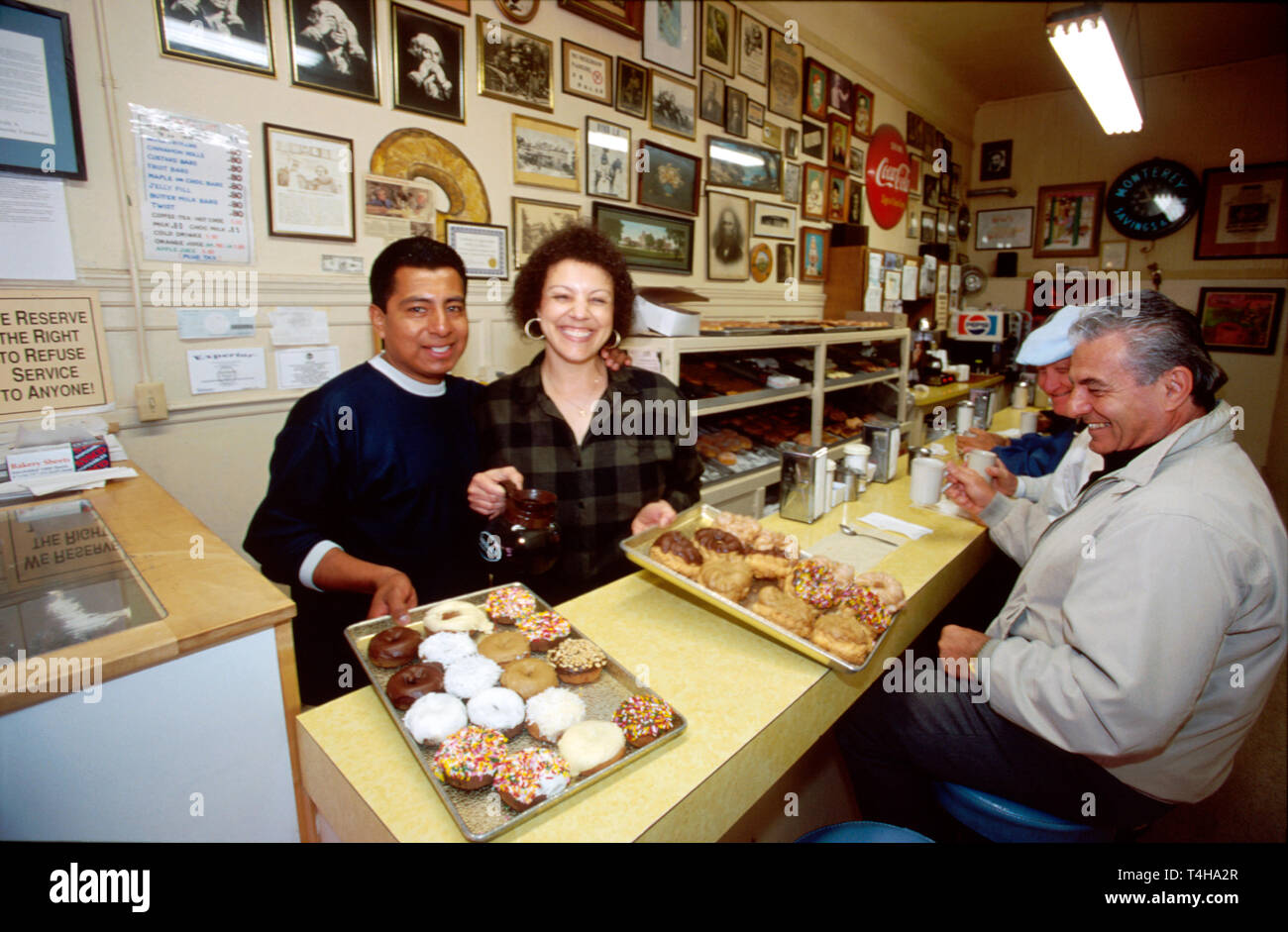 California Monterey Alvarado Street Red's Donuts bakers - Stock Image
