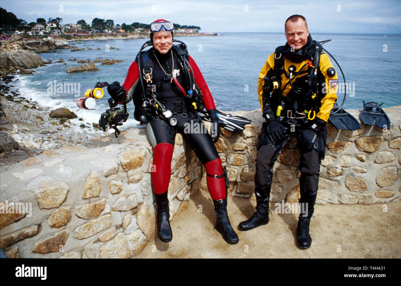 California Monterey Bay Lover's Point scuba divers - Stock Image