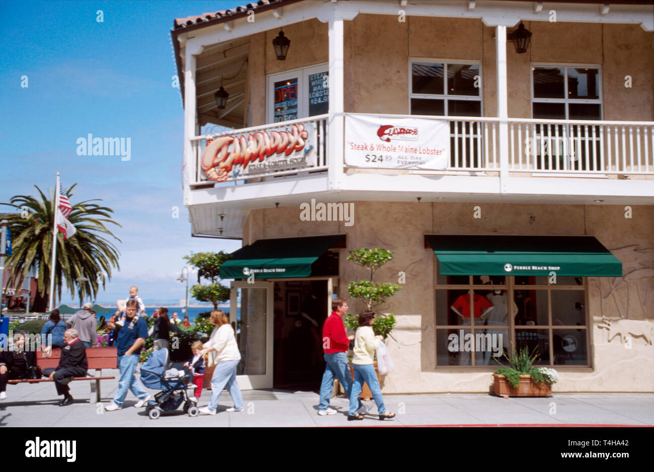 California Monterey Cannery Row Steinbeck Plaza visitors - Stock Image