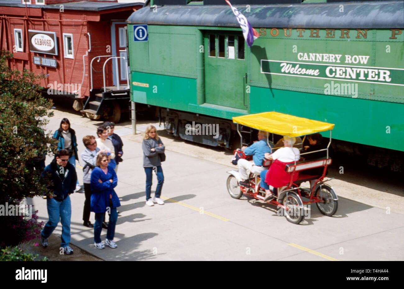 California Monterey Peninsula Recreational Trail near Cannery Row rental peddle jitneys - Stock Image