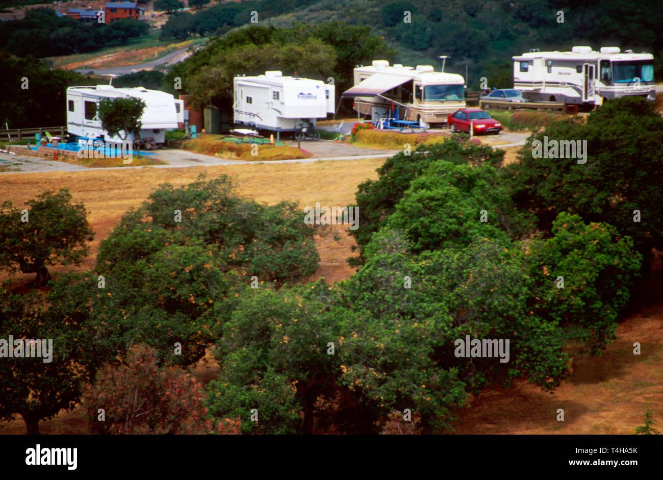 California Monterey County Laguna Seca Recreational Area camping - Stock Image