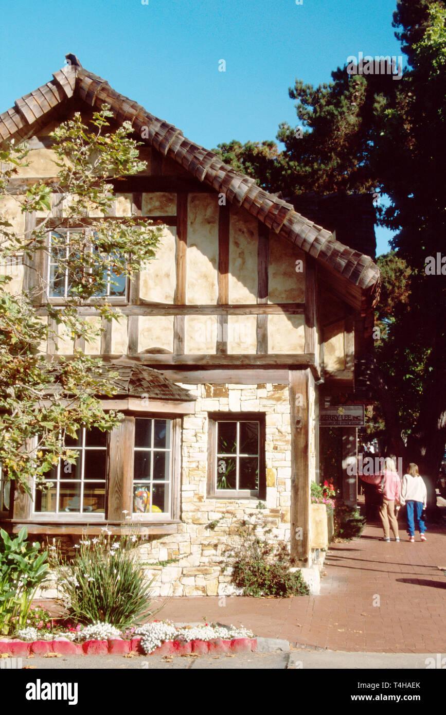 California Monterey County Carmel San Carlos Street Fairy tale Tudor architecture - Stock Image