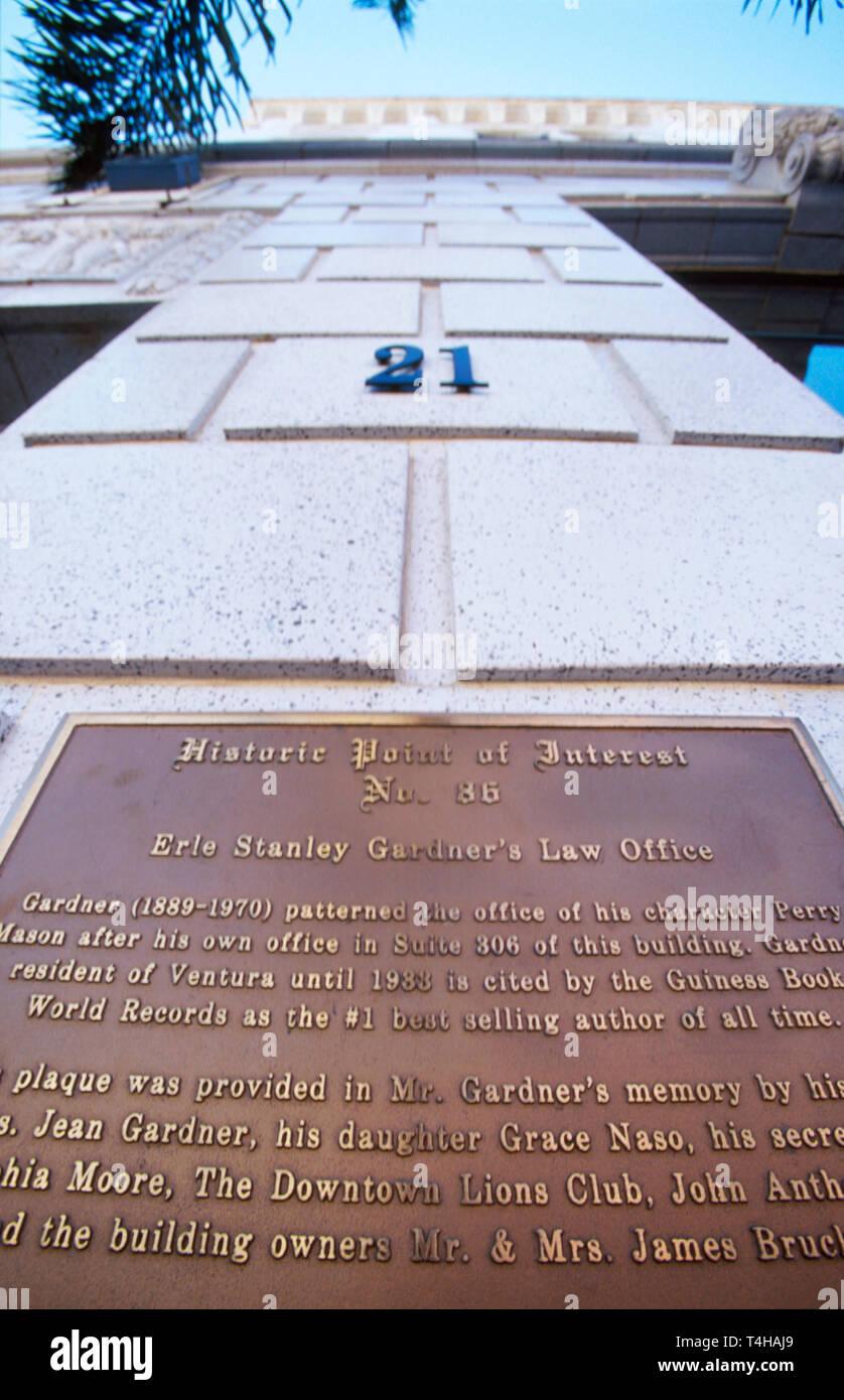 California Ventura California Street Erle Stanley Gardner plaque wrote Perry Mason novels - Stock Image
