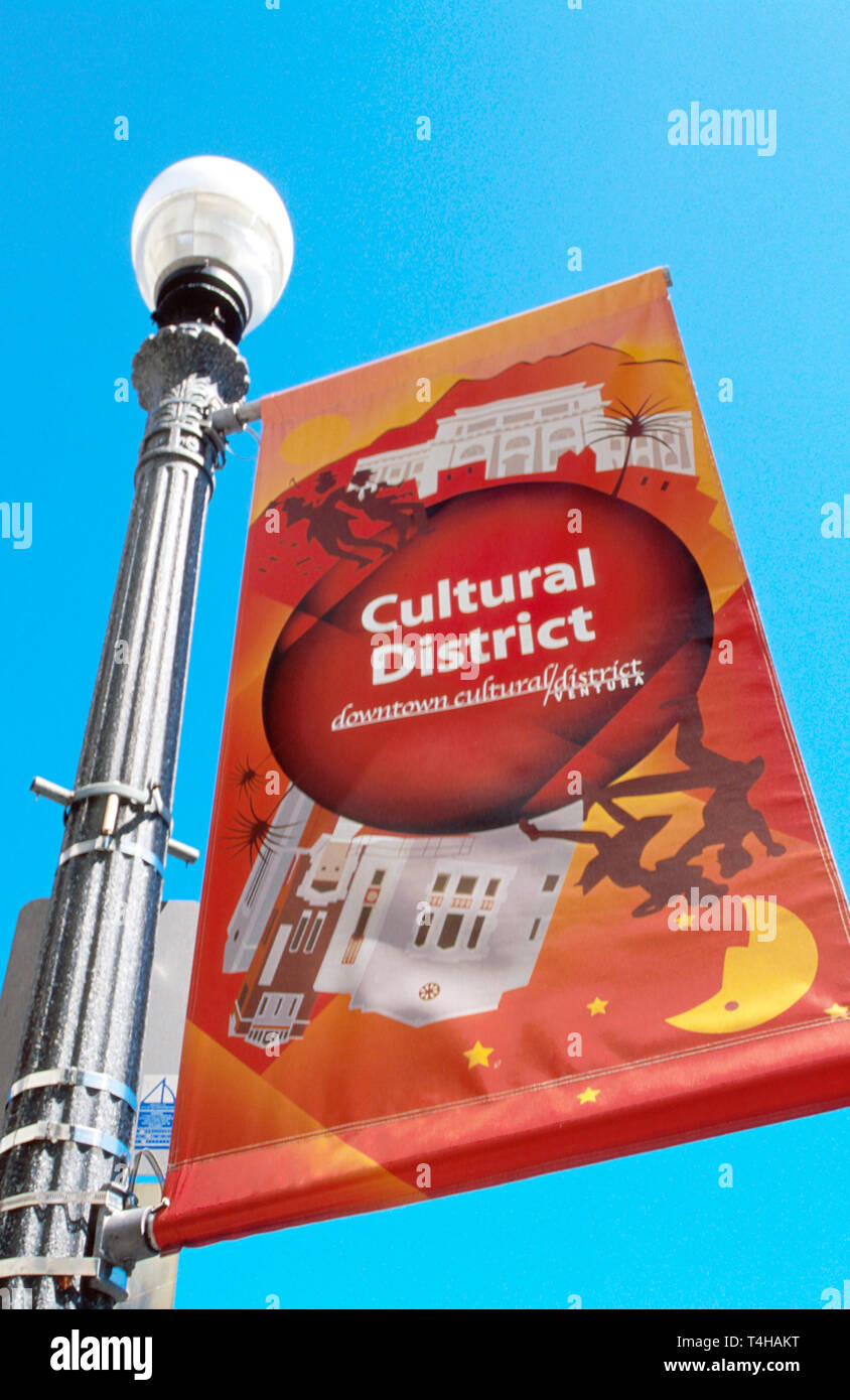 California Ventura Main Street Cultural District banner - Stock Image