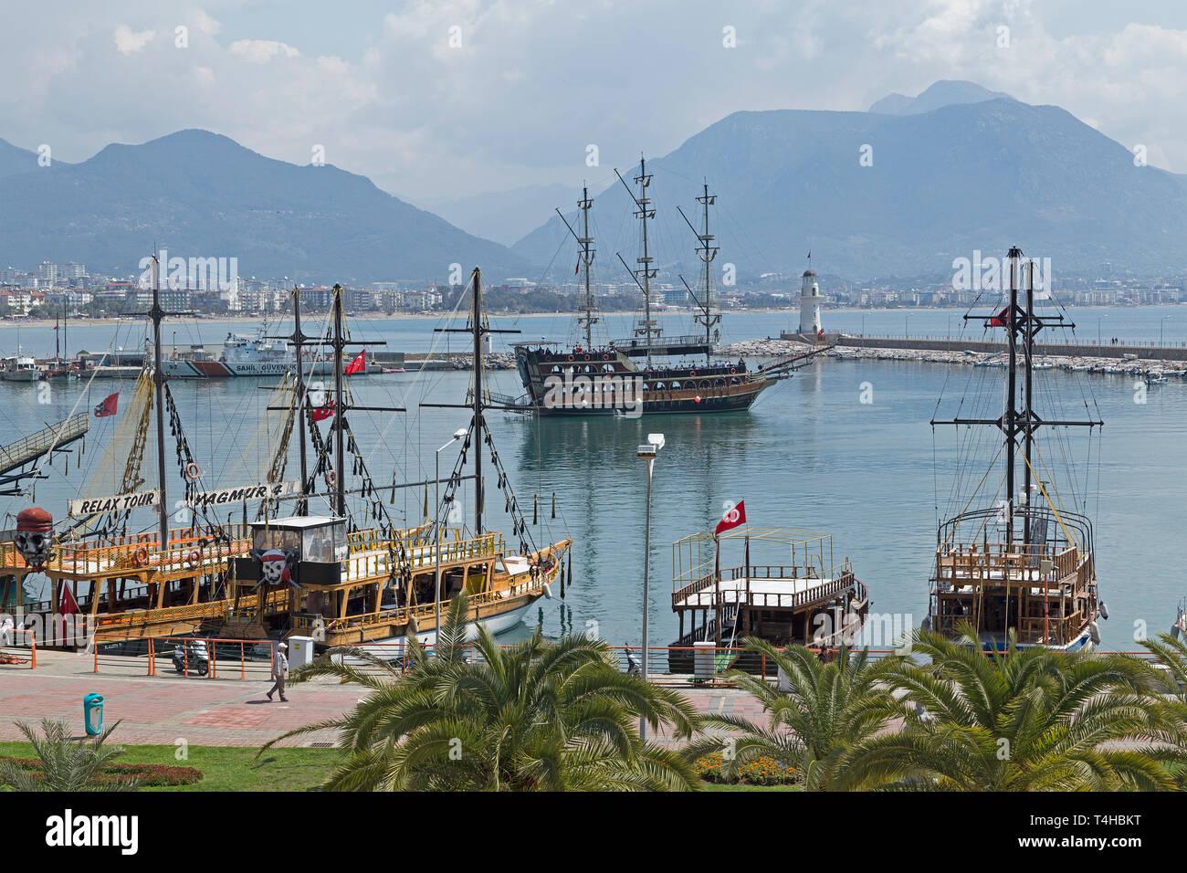 harbour, Alanya, Antalya Province, Turkey - Stock Image