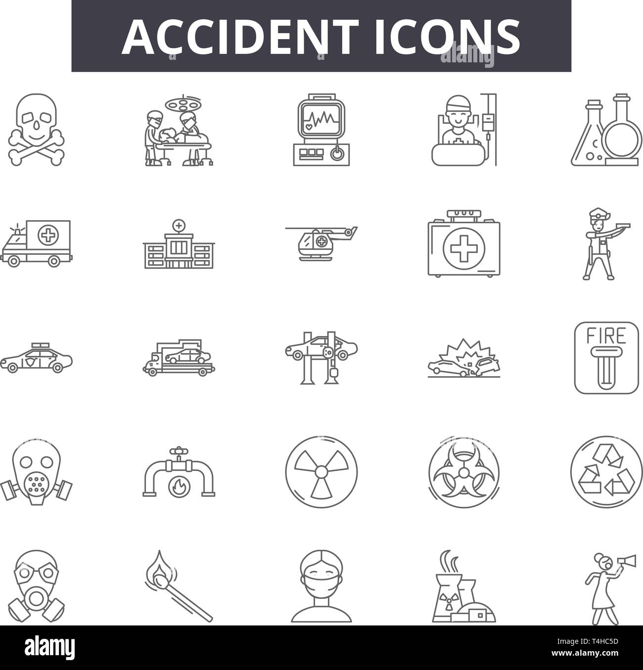 Accident Line Icons Signs Set Vector Accident Outline Concept
