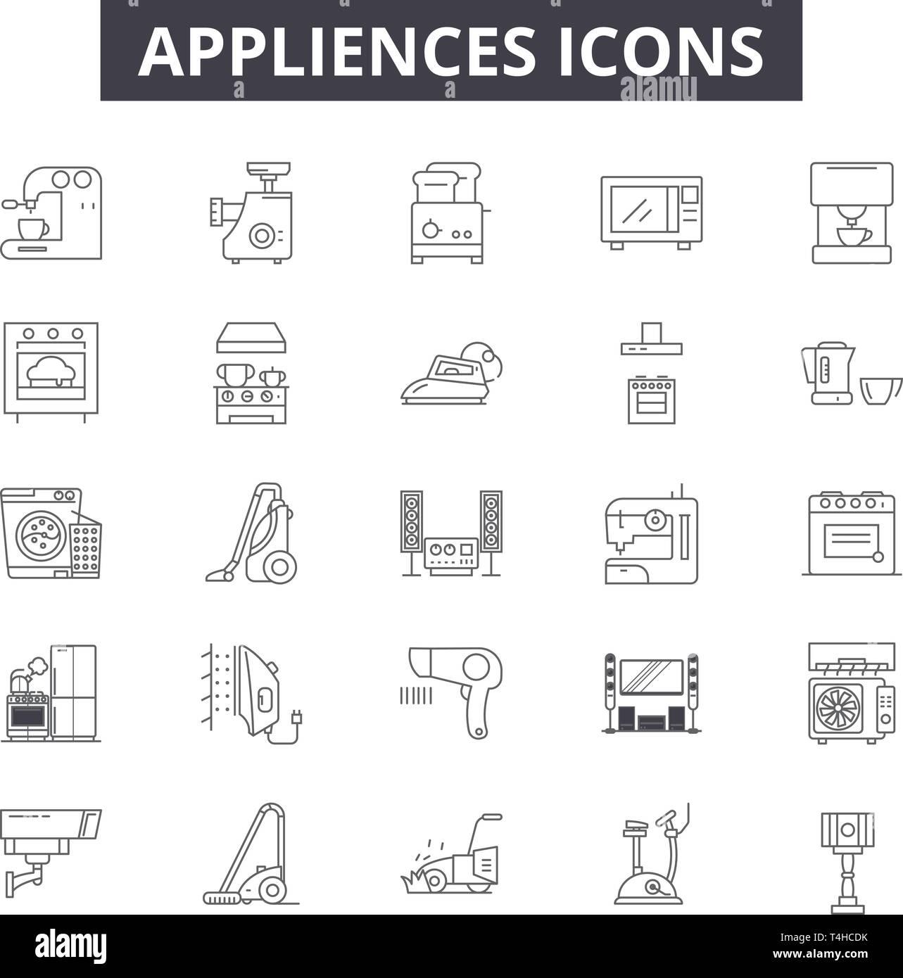 Appliances line icons, signs set, vector  Appliances outline