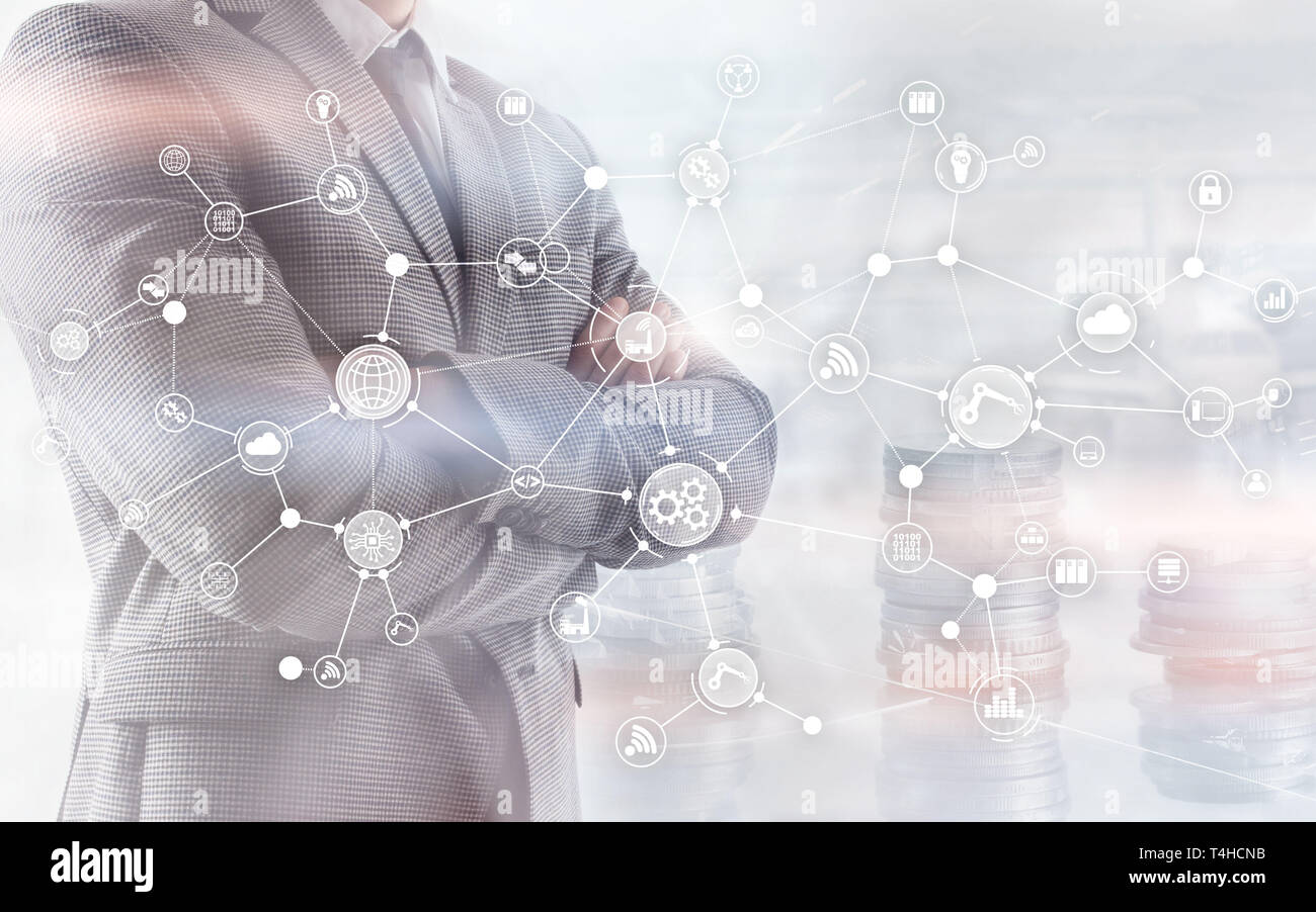 Industrial business process workflow organisation structure on virtual screen. IOT Technology smart industry concept on oins and megapolis background. - Stock Image