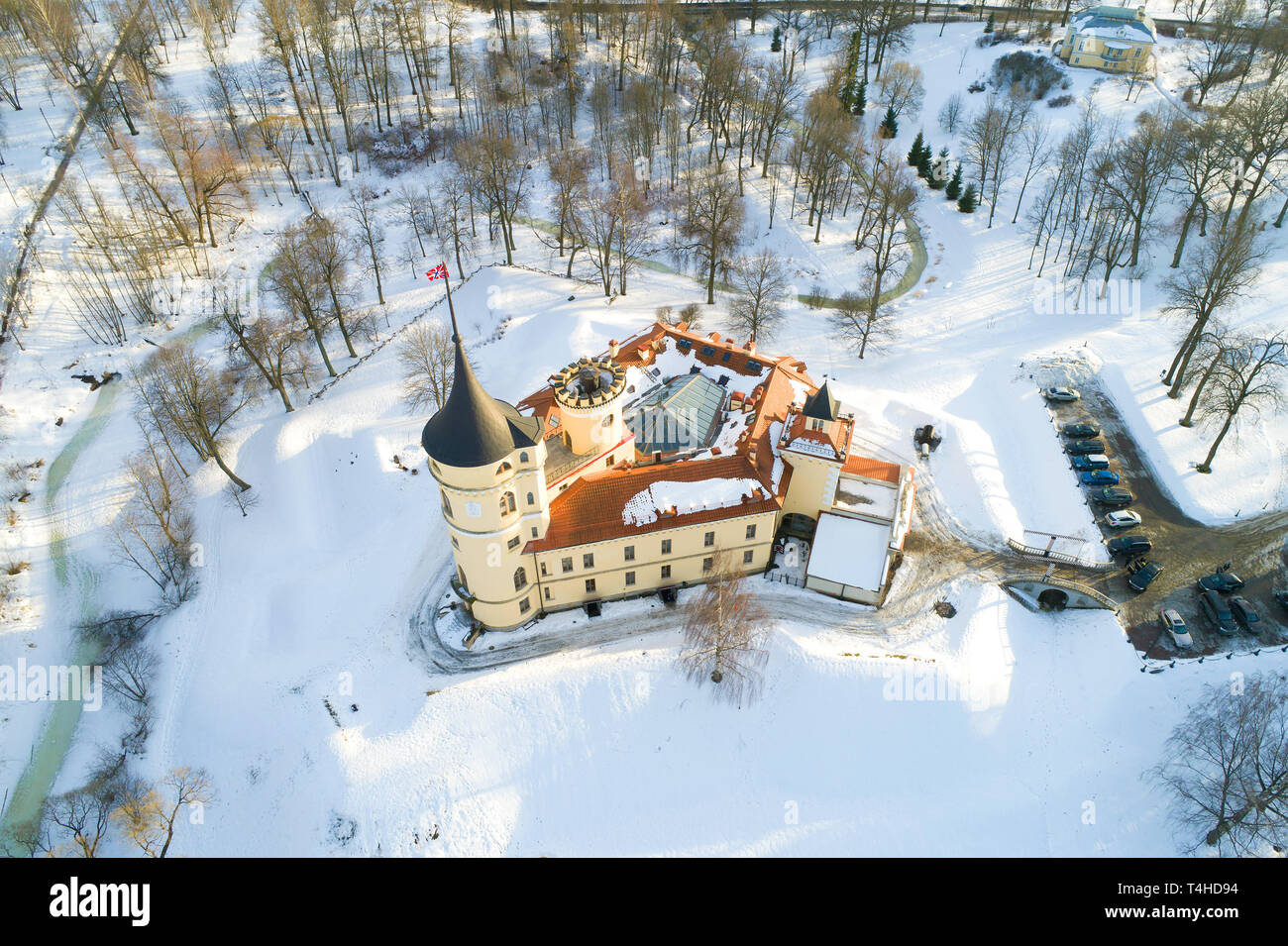 Above the Bip Castle in the afternoon of February (aerial photography). Pavlovsk, Russia - Stock Image