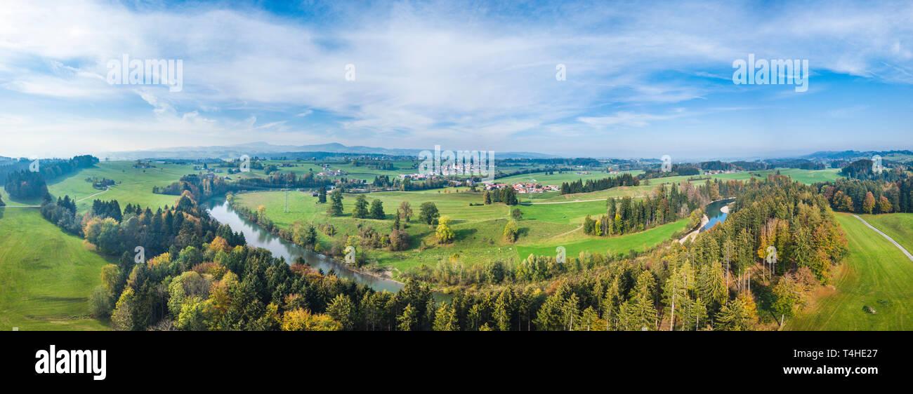 Idyllic Iller valley near Martinszell in bavarian Allgäu - Stock Image