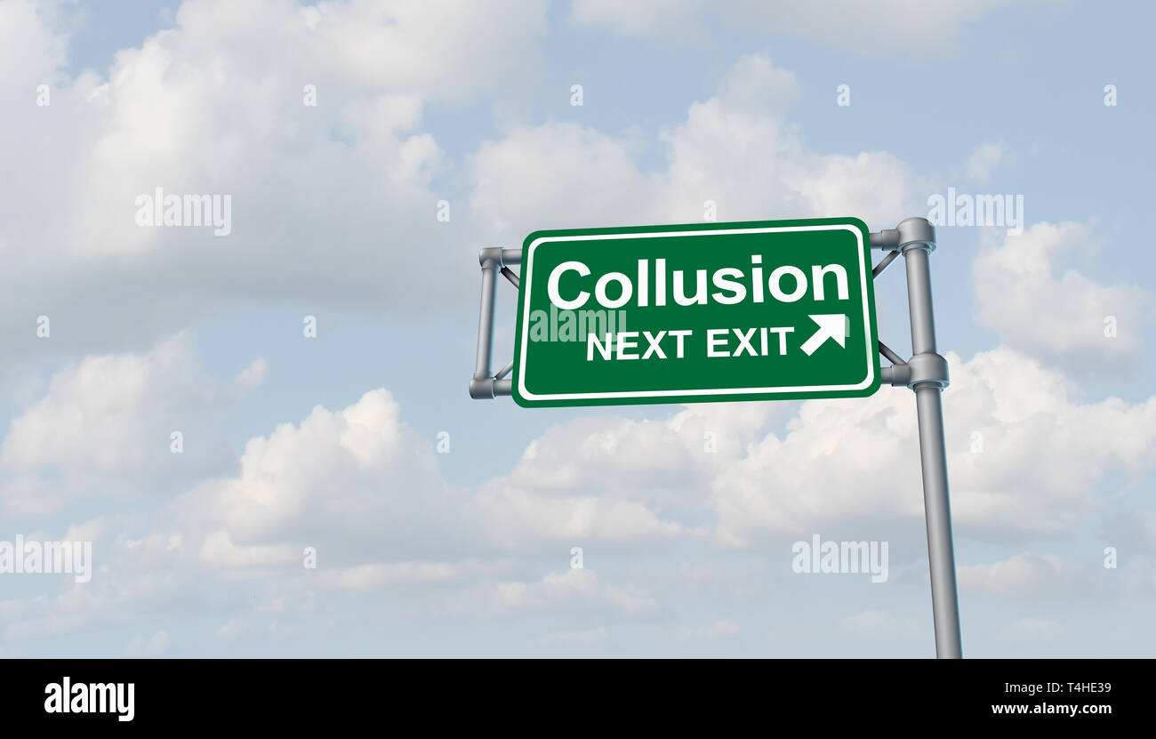 Collusion and obstruction antitrust conspiracy concept of justice concept and political influence or illegaly influencing the legal system. - Stock Image