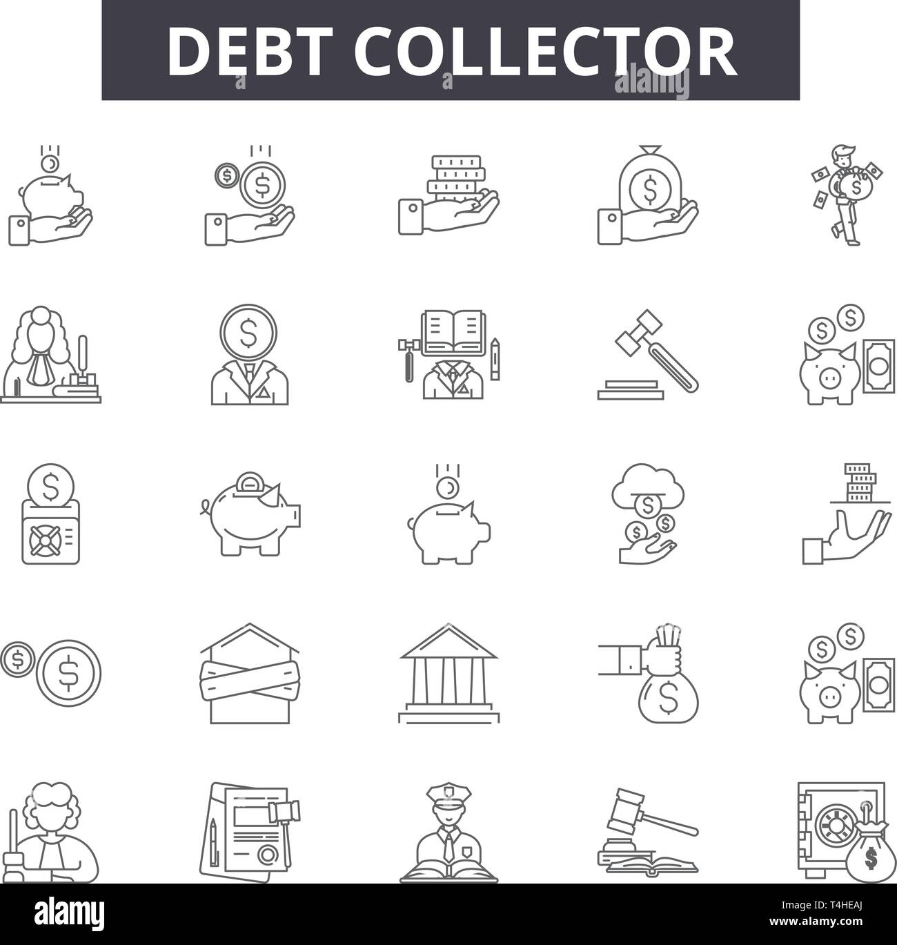 Debt collector line icons, signs set, vector. Debt collector outline concept illustration: debt,money,collector,business,finance,bank,concept,financia - Stock Image