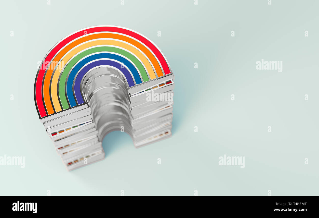 Silver LGBTQ rainbow pile for gay pride, LGBT, bisexual, homosexual symbol concept. Isolated on pastel green background with copy space. 3D rendering - Stock Image