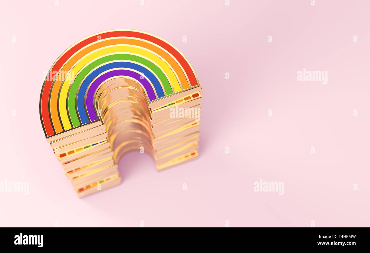 Golden LGBTQ rainbow pile for gay pride, LGBT, bisexual, homosexual symbol concept. Isolated on pastel pink background with copy space. 3D rendering - Stock Image