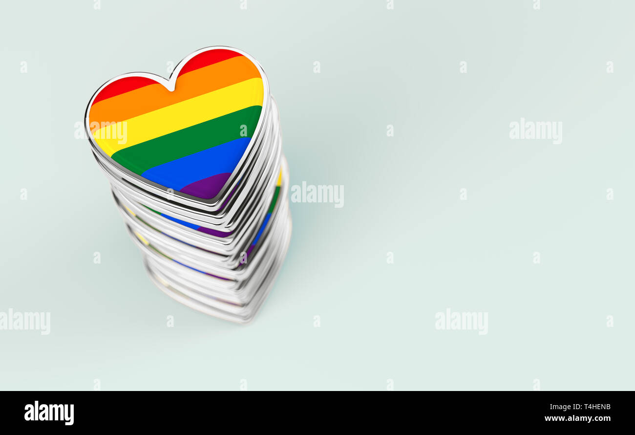 Silver hearts with rainbow flag inside stack or pile. Gay pride, LGBT, bisexual, homosexual symbol concept. Isolated on pastel green background with c - Stock Image