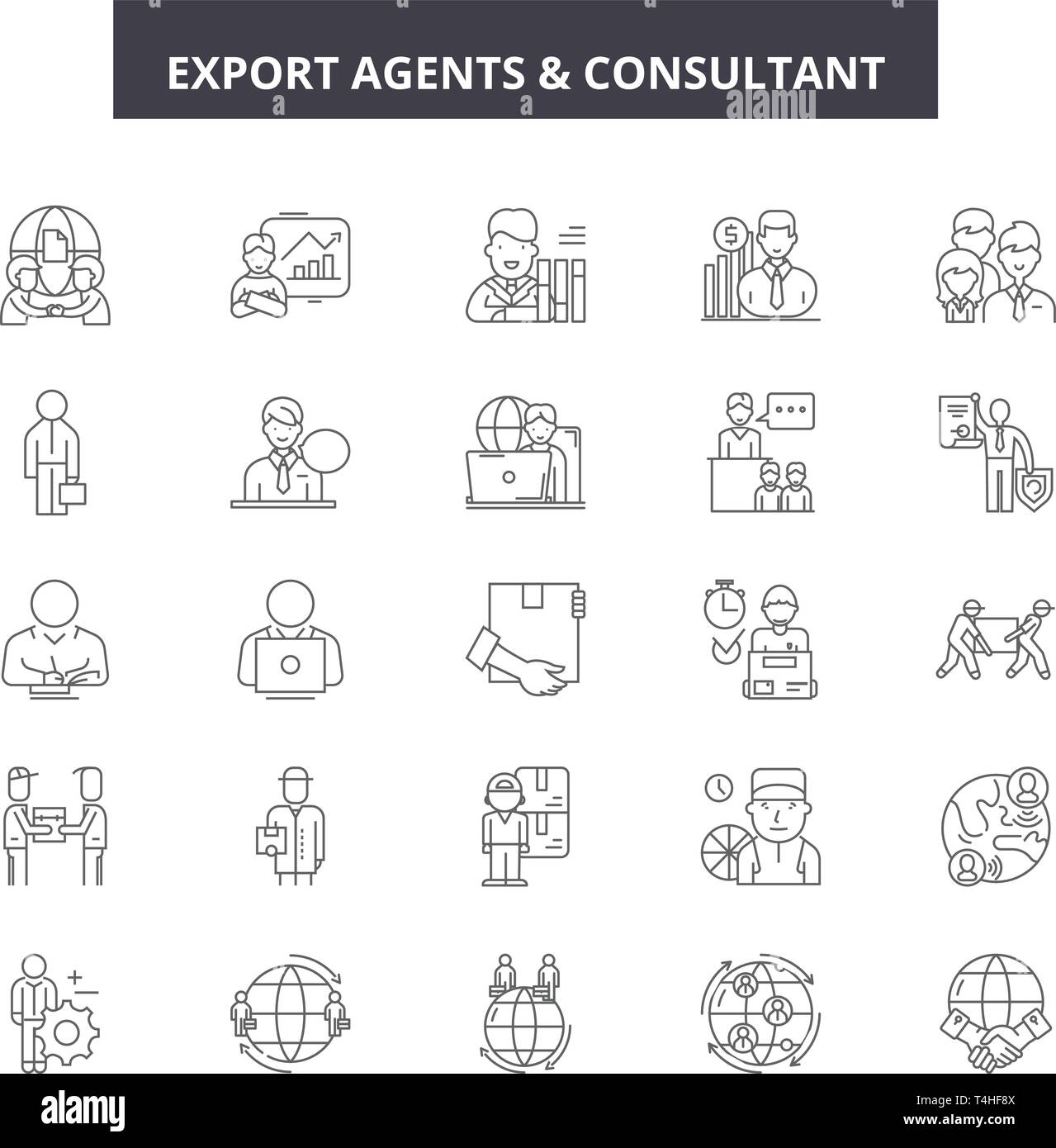 Export agents line icons, signs set, vector. Export agents outline concept illustration: export,agent,transportation,cargo,transport,shipping,delivery - Stock Vector