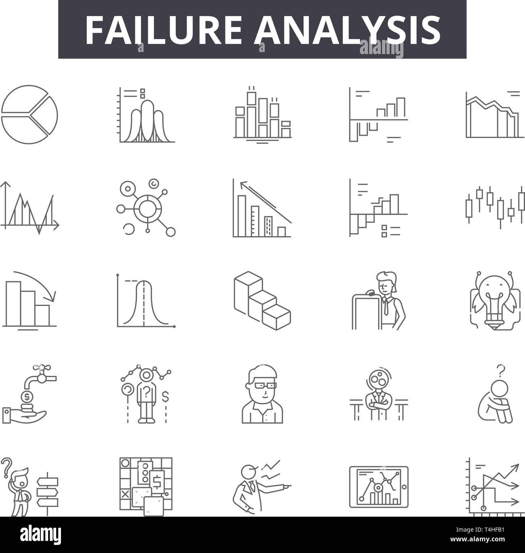 failure analysis line icons, signs set, vector  failure analysis outline  concept illustration: analysis,business,failure,graph ,down,data,financial,cha