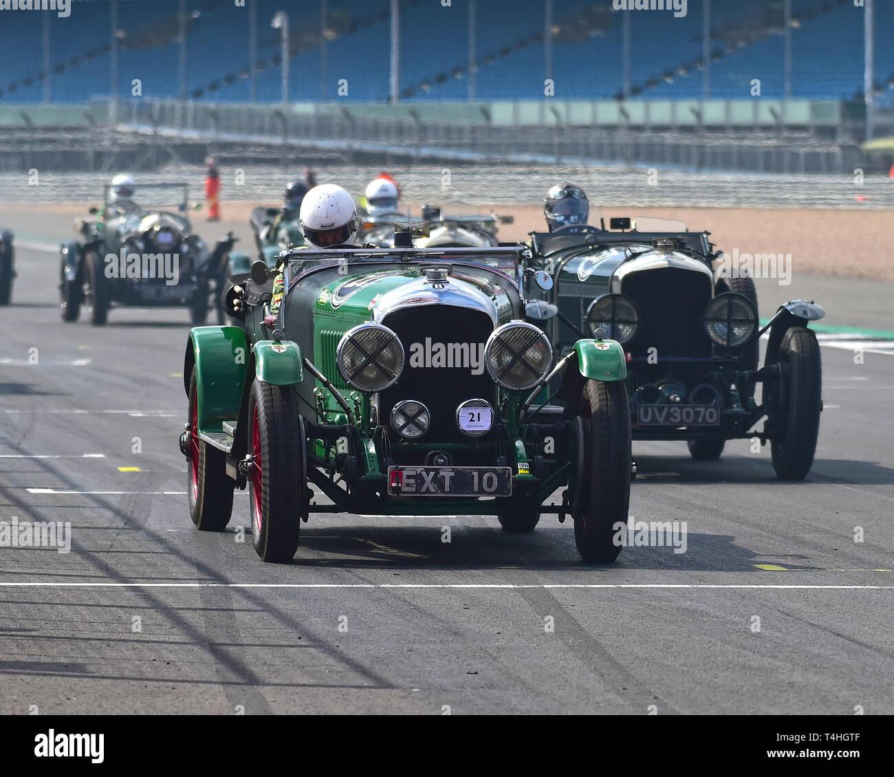 Nigel Batchelor, Will Batchelor, Bentley 4½ Litre VDP Tourer, Benjafield 100, 100 Years of Bentley, April 2019,  Silverstone, Northamptonshire, Englan - Stock Image