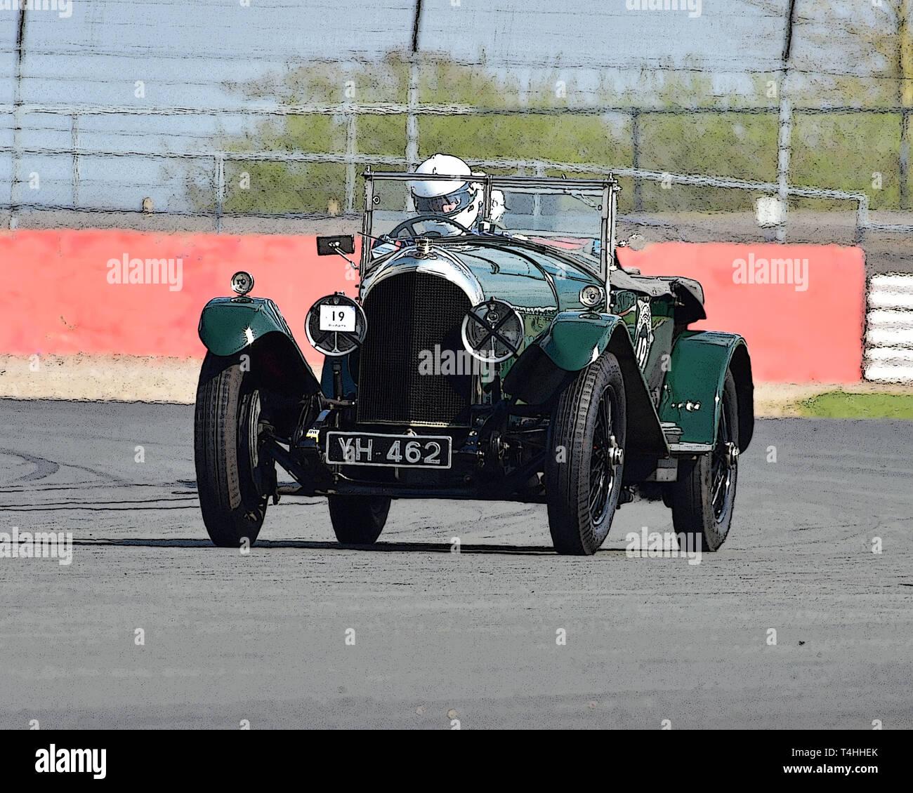 Brian Rivett, Bentley 3 litre Speed Model, Benjafield 100, 100 Years of Bentley, April 2019,  Silverstone, Northamptonshire, England, circuit racing,  - Stock Image
