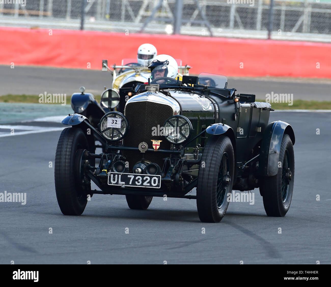Martin Gaensler, Bentley Speed Six Le Mans, Benjafield 100, 100 Years of Bentley, April 2019,  Silverstone, Northamptonshire, England, circuit racing, - Stock Image