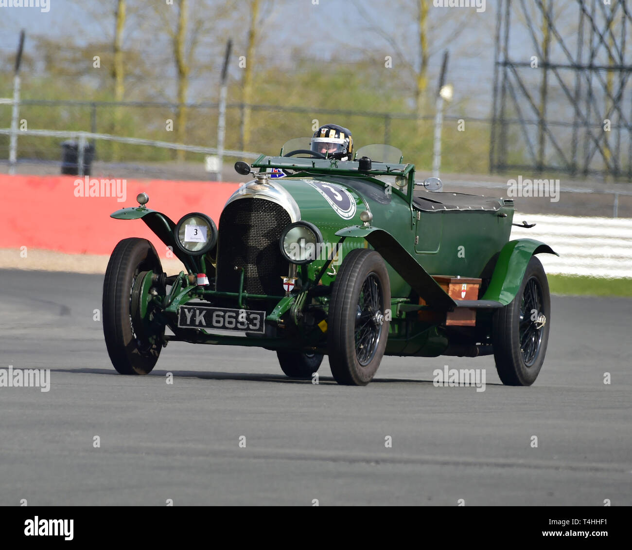 Philip Strickland, Bentley 3 Litre Long Chassis, Benjafield 100, 100 Years of Bentley, April 2019,  Silverstone, Northamptonshire, England, circuit ra - Stock Image