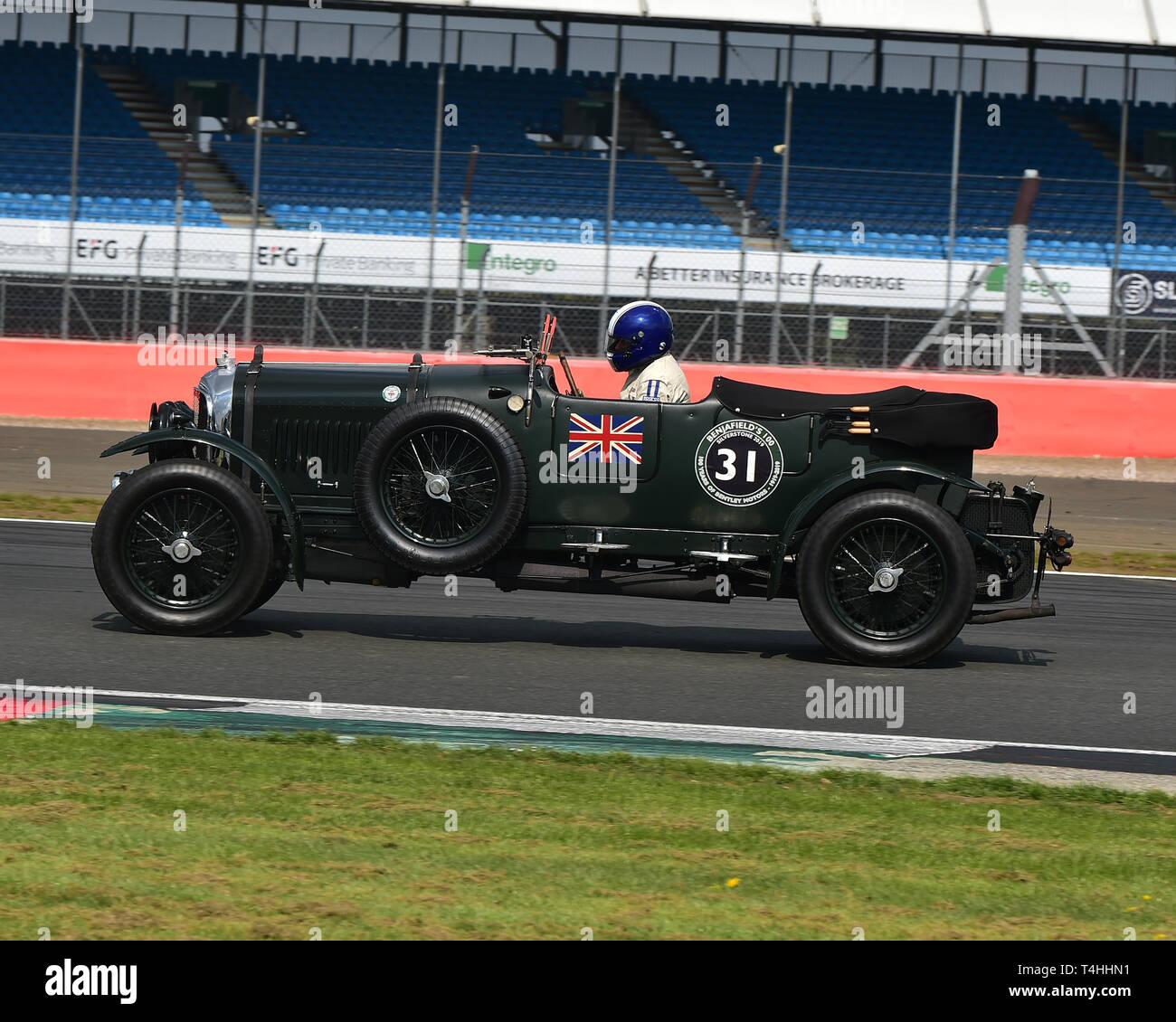 Andrew Hayden, Bentley 4½ Litre, Benjafield 100, 100 Years of Bentley, April 2019,  Silverstone, Northamptonshire, England, circuit racing, classic ca - Stock Image