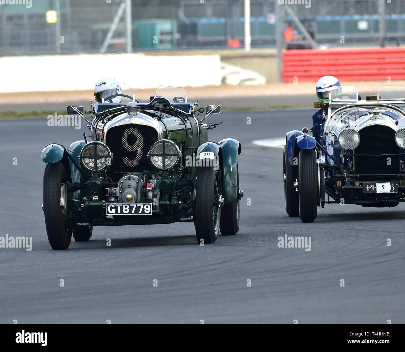 Neil Davies, Simon Arscott, Bentley 4½ Litre Blower, Benjafield 100, 100 Years of Bentley, April 2019,  Silverstone, Northamptonshire, England, circui - Stock Image