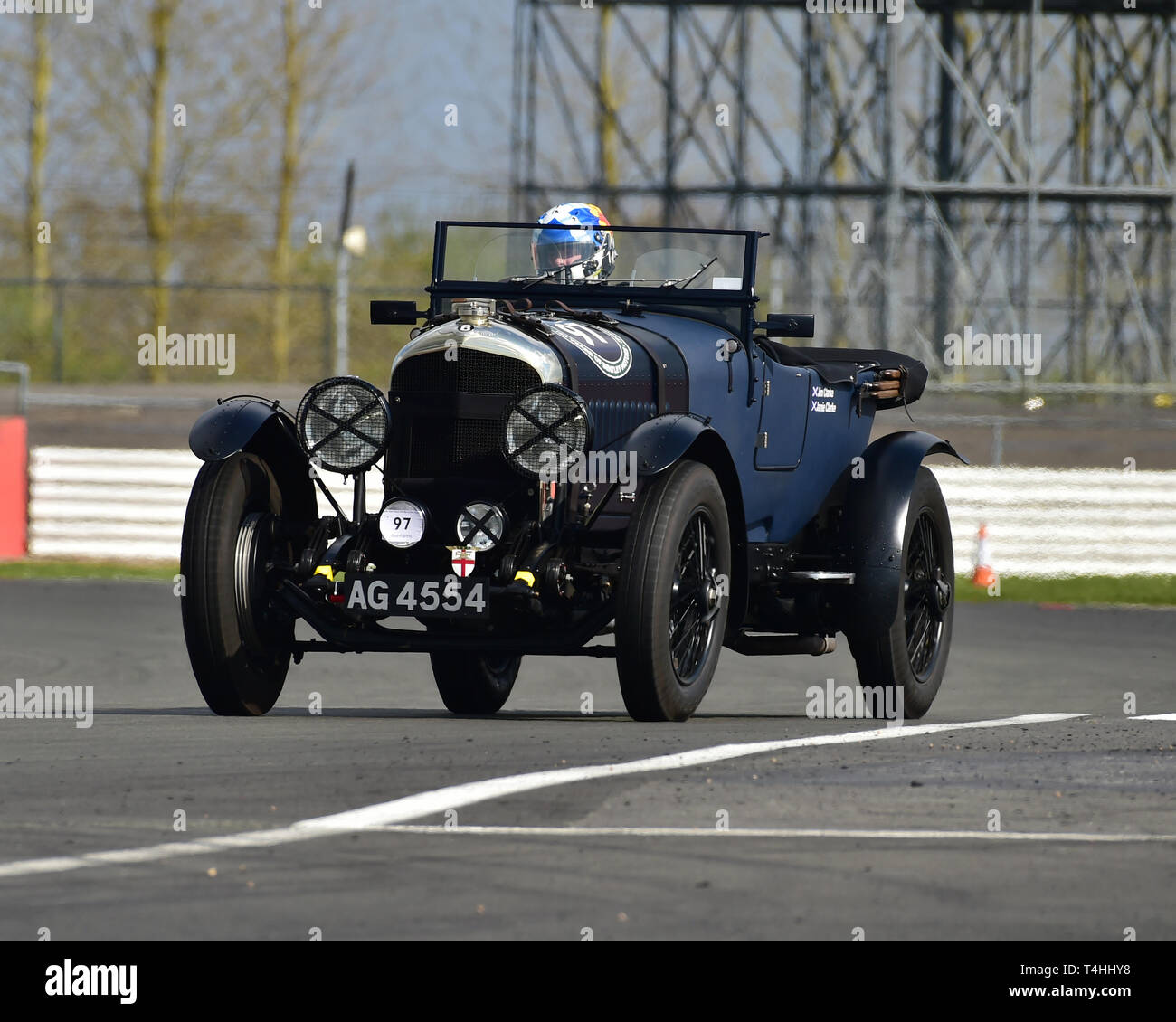 Jim Clarke, Jamie Clarke, Bentley 4½ Litre, Benjafield 100, 100 Years of Bentley, April 2019,  Silverstone, Northamptonshire, England, circuit racing, - Stock Image