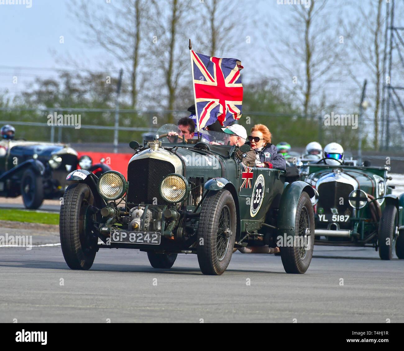 Martin Overington, Bentley 4½ Litre Blower, Benjafield 100, 100 Years of Bentley, April 2019,  Silverstone, Northamptonshire, England, circuit racing, - Stock Image