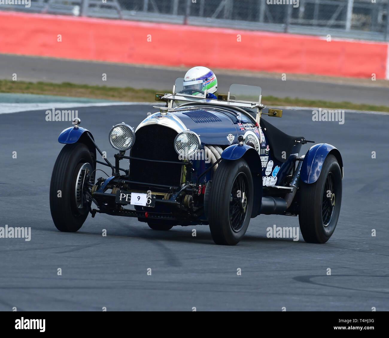 Richard Hudson, Stuart Morley, Bentley 3-4½ litre, Benjafield 100, 100 Years of Bentley, April 2019,  Silverstone, Northamptonshire, England, circuit  - Stock Image