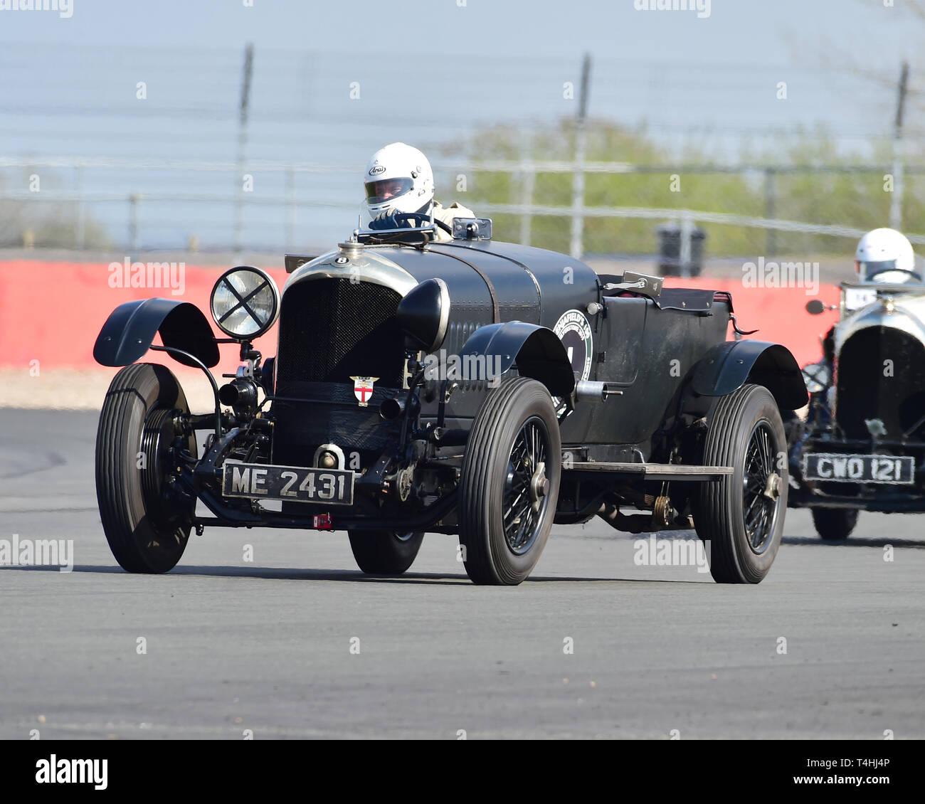 Jonathan Turner, William Metcalf, Bentley 3 litre, Benjafield 100, 100 Years of Bentley, April 2019,  Silverstone, Northamptonshire, England, circuit  - Stock Image